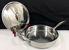 """New listing Scanpan Fusion 5 Professional Stainless Skillet Saute Pan w Lid 26cm 10 7/8"""" Ex!"""