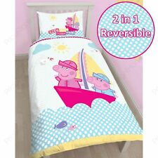 PEPPA PIG & GEORGE 'NAUTICAL' SINGLE DUVET COVER SET NEW