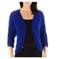 NWOT LARK LANE Women's Royal Blue Knit Crochet Sweater Shrug 3/4 Sleeves Size L