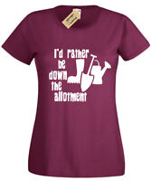 I'D RATHER BE DOWN THE ALLOTMENT T Shirt Womens Gift Gardening Gardener ladies