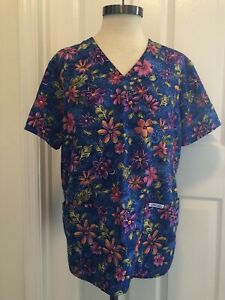 CHEROKEE Inspired Comfort Multi-Color Floral Scrub Top Size S