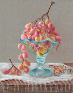 Blue glass and  grapes  still life 8 x 10 print of original pastel painting