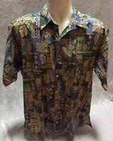 Tori Richard Hawaiian Print LG Cotton Lawn Button Down Short Sleeve Camp Shirt