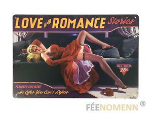 Plaque Métal Déco Vintage - Pin up Rouge Canapé - Love and Romance (20x30cm)