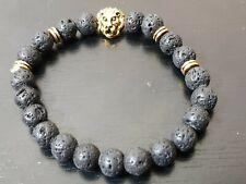 Fashionable volcanic stone lion head  bracelet  hip hop gold