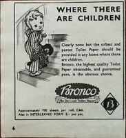 "Bronco ""The De Luxe Toilet Paper"" Where There Are Children Vintage Advert 1947"