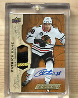 PATRICK KANE 2019-20 Upper Deck Engrained On Card Auto 4 Color GU Patch /25