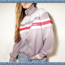 Vintage 80's Adidas Track Jacket Size Trefoil Large gray red