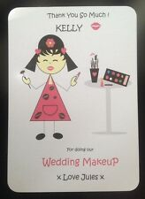 Personalised Wedding Day Thank You Card Make up Beauty Gift