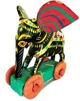 Vintage Wooden Hand Painted Colorful Elephant With Wheels Made In Bangladesh