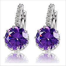 Luxury Purple Round Stone Hoops Elegant Earrings Women Ear Decoration E1164