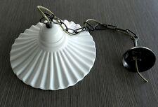 Lampadario Con Piatto Ceramica Sospensione Con Catena ottone Fazzoletto Bianco
