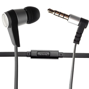 Single Earbud Stereo-to-Mono Headphone w/Mic Black/Silver Aluminum with Ru...
