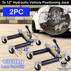 """2PC 12"""" 680kg Hydraulic Wheel Dolly Go Jacks Vehicle Positioning Jack Car SUV"""
