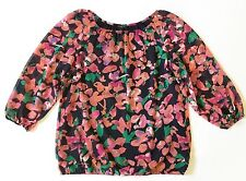 Ann Taylor Navy/Pink/Purple/Green/White Floral Blouse-3/4 Sleeves-Womens-Sz S