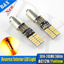 2x BA9S H6W LED CANBUS Error Free Interior Side Light Bulb AC 12V Amber/Orange