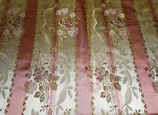 Vintage French Floral Roses Stripe Satin Lisere Brocade Fabric ~ Rose Pink Olive