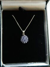"""925 STERLING SILVER LAVENDER CRYSTAL BALL PENDANT 18""""  46cm CHAIN NEW IN BOX"""