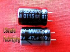 4 pc  -  47uf 100v 105C  Mallory electrolytic capacitors (S)  FREE SHIPPING