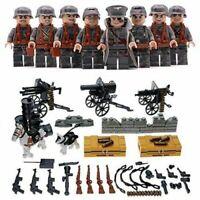 8Pcs/set DE Militär Soldaten mit Waffen Bausteine Bricks WW2 Mini Armee Figuren