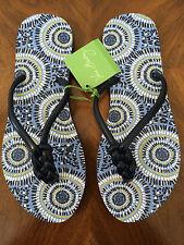 Womens Vera Bradley Starry Night Flip Flop Sandals Sz S (5 6) 11212-423S Navy
