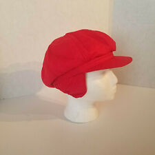 Conte of Florence made in Italy Vintage Red Wool Cotton Cabbie Hat with earflap