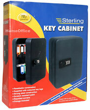 Wall Key Cabinet / Safe With Combination Lock + Tags - Sterling - 20 Keys Holder