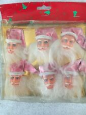 Vintage Santa Head Christmas Doll Santa PINK SHINY Hat Ornament Lot 6