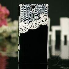 Sony Ericsson LT26i Xperia S Handy Case Hülle Bumper Etui Perlen Cover Schwarz
