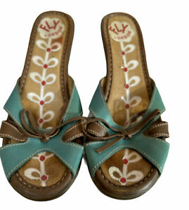 FLY LONDON sandals. Blue & Brown leather heels, mules. Made in Portugal 39