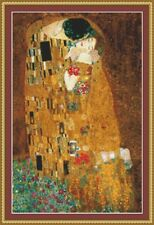 THE KISS  By Gustav Klimt IS A 14ct CROSS STITCH CHART in 2 sizes FOR DMC THREAD