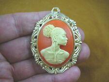 (CA20-21) RARE African American LADY ivory + orange CAMEO Pin Pendant JEWELRY
