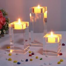 3Pack Crystal Glass Cube Candle Holder Glass Stand Tealight Home Romantic Decor