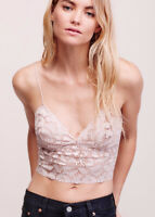 New Intimately Free People L Lacey Lace Brami Bralette Rose Pink Bra Cami Tank