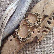 Brass Mandala Earrings Tribal Gypsy Lotus Hoop 2.5 x 3cm Heart Boho Antique
