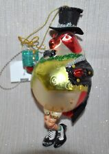 NEW DRESSED UP BIRD w/Gift Box Christmas GLASS Ornament Tuxedo