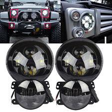 7'' LED Headlights + 4'' LED Fog Light DRL Combo Kit For Jeep Wrangler JK 07-16