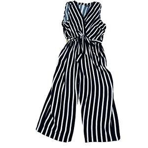 Autograph Women's Plus Size 24 Jumpsuit Black & White Stripe Playsuit Tie Waist