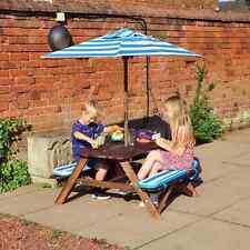 Kingfisher Kids Picnic Patio Table Bench Set Parasol Garden Summer