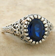 VINTAGE ANTIQUE STYLE .925 STERLING BLUE LAB SAPPHIRE SILVER RING SZ 5.75,  #801