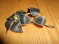 vintage safety pin Flower & Leaves Brooch scarf shawl