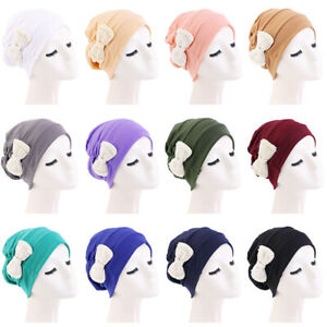Beaded Bowknot Beanies Muslim Women Wraps Turban Hat Pure Color Stretch Caps