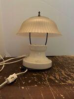Antique Art Deco Porcelain and Milk Glass Flush Mount Ceiling Light Fixture