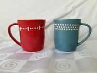 2008 Starbucks Coffee Mug Pair Red Blue Cream Dots Dash Set of 2 Hand Thrown