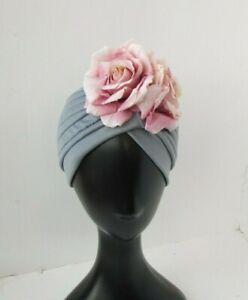 Dusky Pink Dark Grey Rose Flower Turban Headpiece Floral Vintage Style Hat 0810