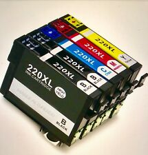 5PK Hi-Yield BK & Color Ink For Epson 220XL 220 WF2630 WF2650 WF2660 XP320/420