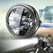 """7"""" Motorcycle 12V Round Headlight Halogen H4 Bulb Head Lamp Projector Side Mount"""