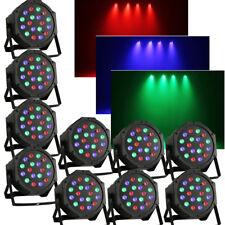 10Pcs LED PAR 56 18x3W RGB DMX Scheinwerfer Flat Compact Floorspot Disco DE Ship