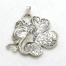 Vintage Art Nouveau Pendant 925 Sterling Silver Lady Fairy Clover Flower Oxidize