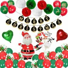 Christmas Decorations Set. Banner Paper Pompoms Photo Booth Props Party Balloons